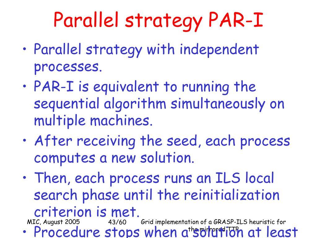 Parallel strategy PAR-I