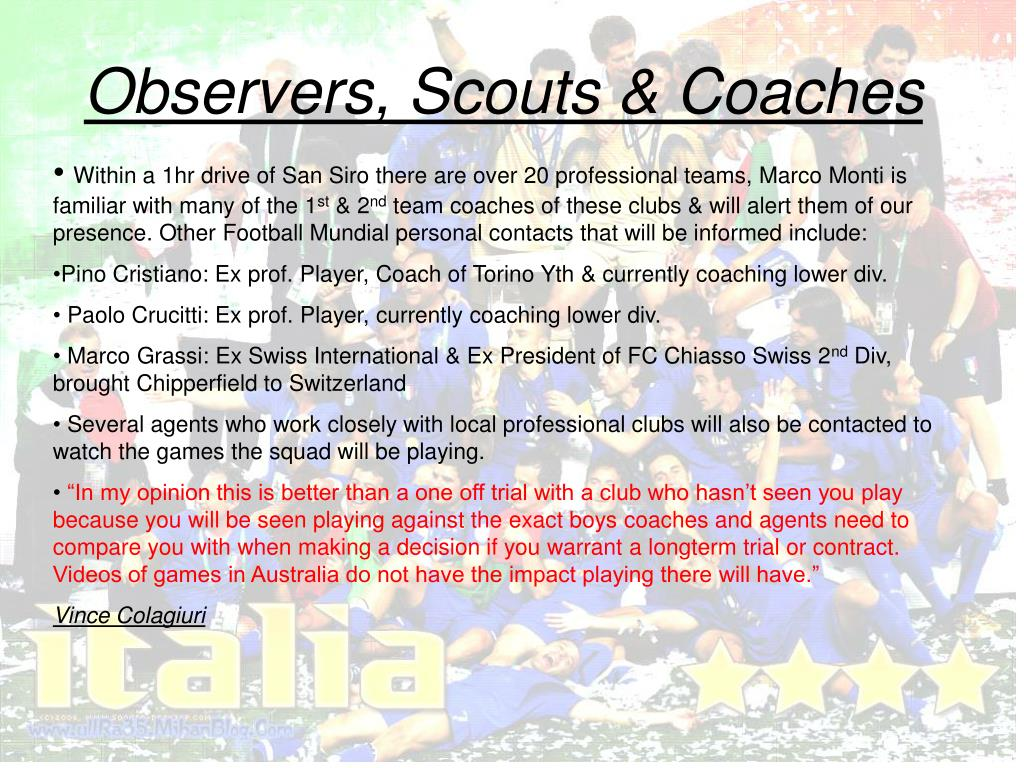 Observers, Scouts & Coaches