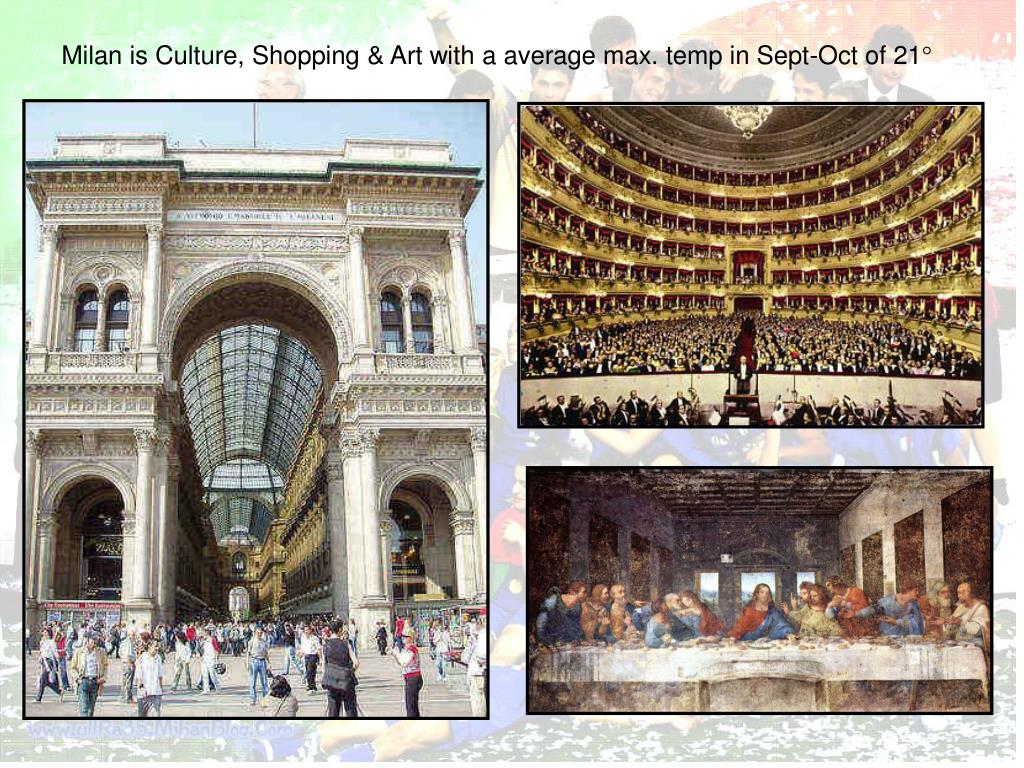 Milan is Culture, Shopping & Art with a average max. temp in Sept-Oct of 21