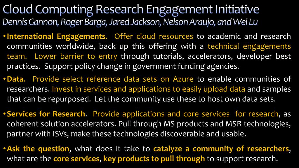 Cloud Computing Research Engagement Initiative
