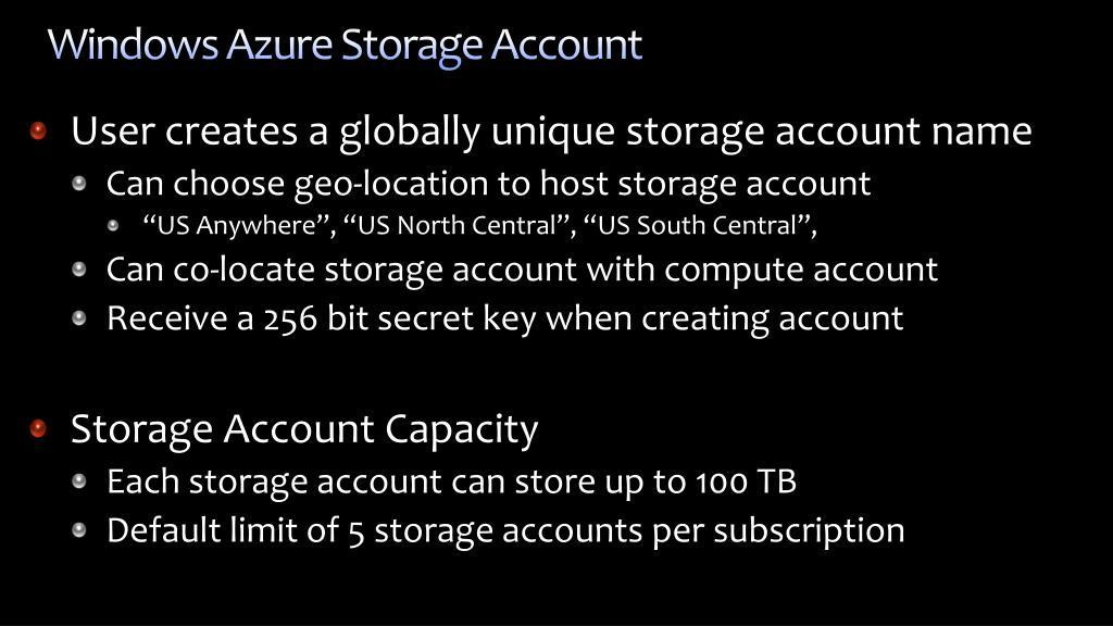 Windows Azure Storage Account