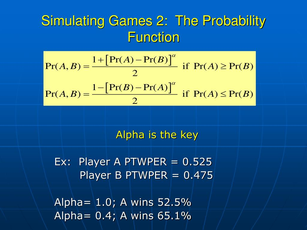 Simulating Games 2:  The Probability Function