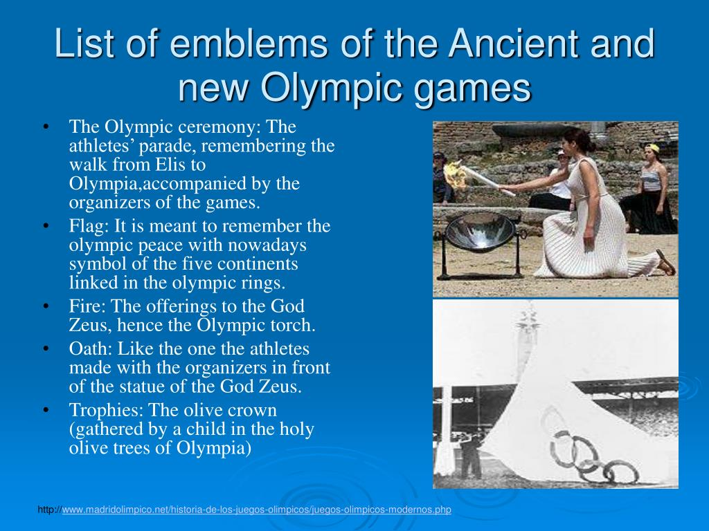 List of emblems of the Ancient and new Olympic games