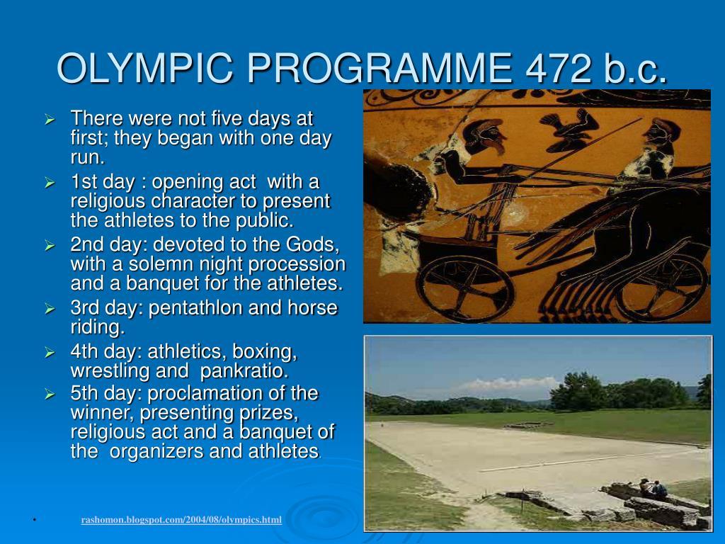 OLYMPIC PROGRAMME 472 b.c.