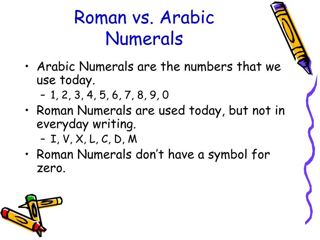 Roman vs. Arabic
