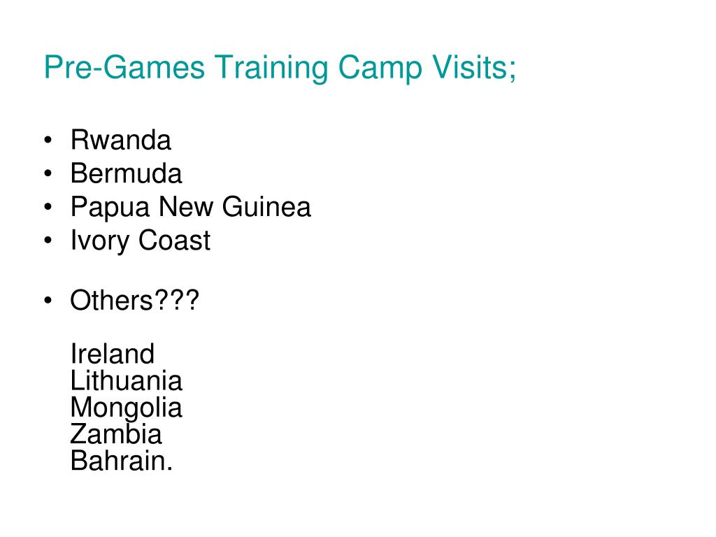 Pre-Games Training Camp Visits;
