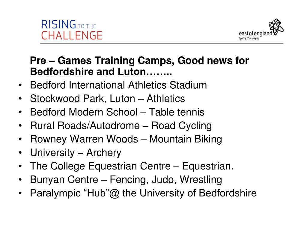 Pre – Games Training Camps, Good news for Bedfordshire and Luton……..