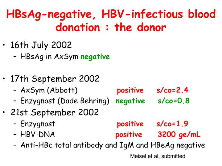 HBsAg-negative, HBV-infectious blood donation : the donor