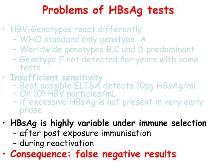 Problems of HBsAg tests
