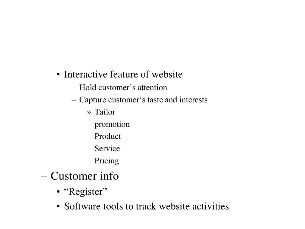 Interactive feature of website