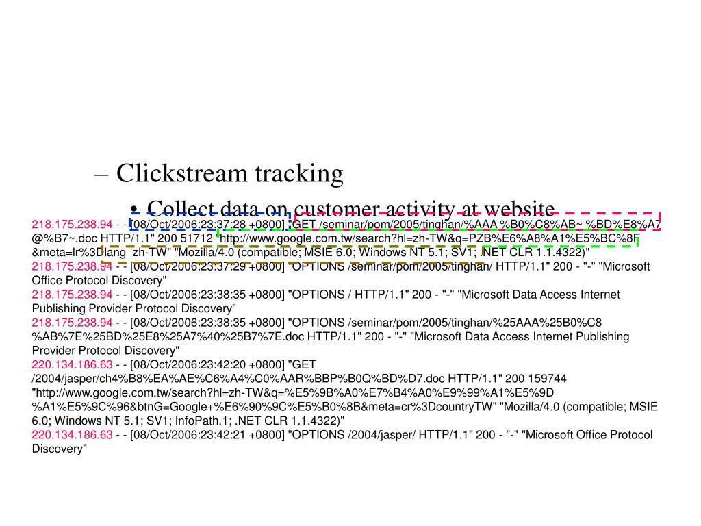 Clickstream tracking