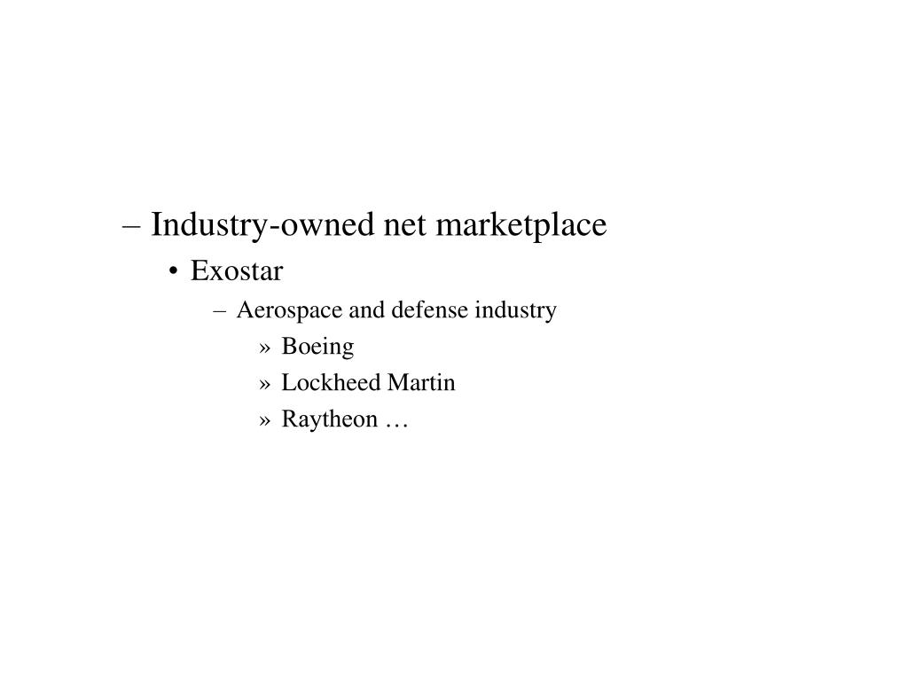 Industry-owned net marketplace