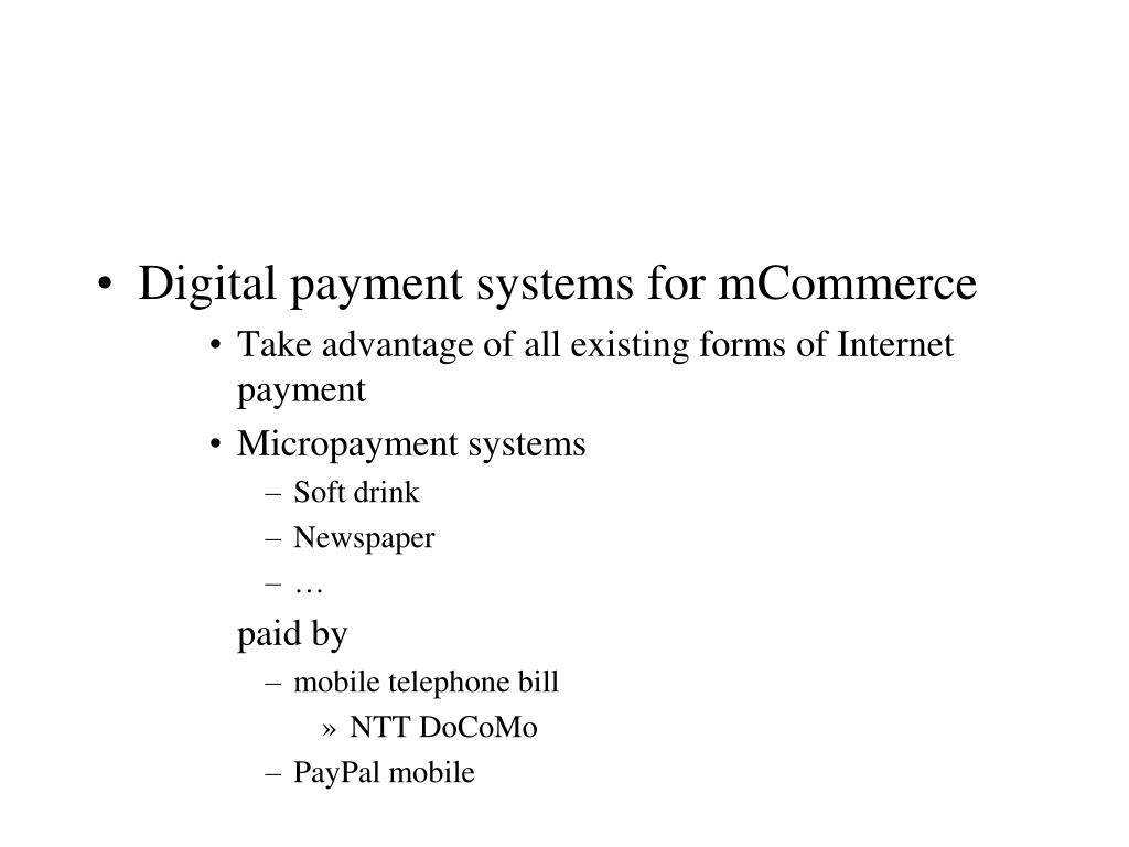 Digital payment systems for mCommerce