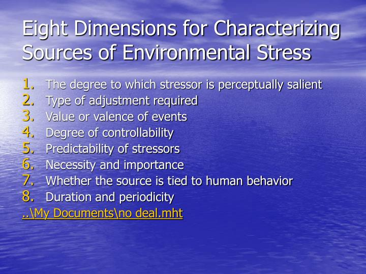 Eight Dimensions for Characterizing Sources of Environmental Stress