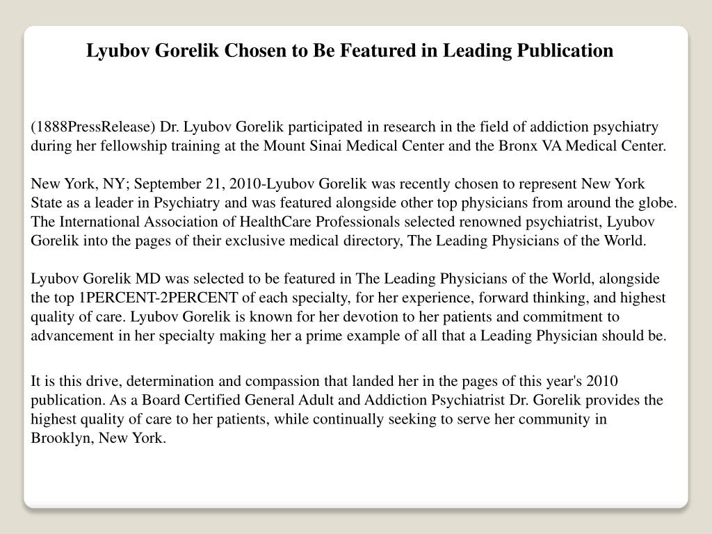 Lyubov Gorelik Chosen to Be Featured in Leading Publication