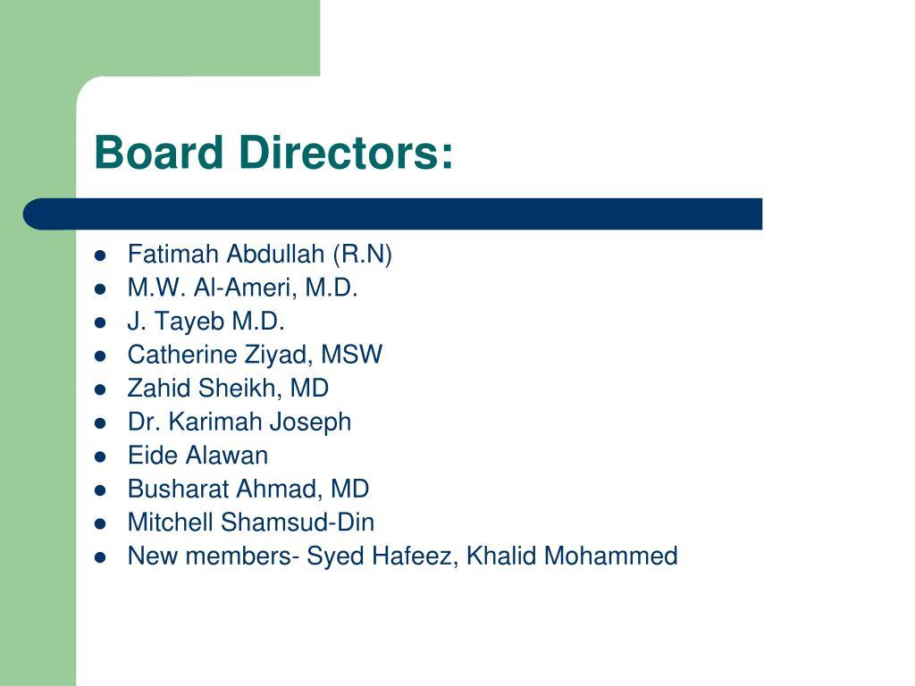 Board Directors:
