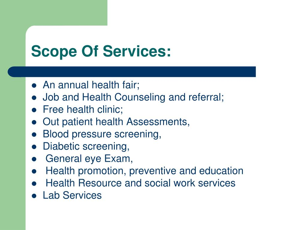 Scope Of Services: