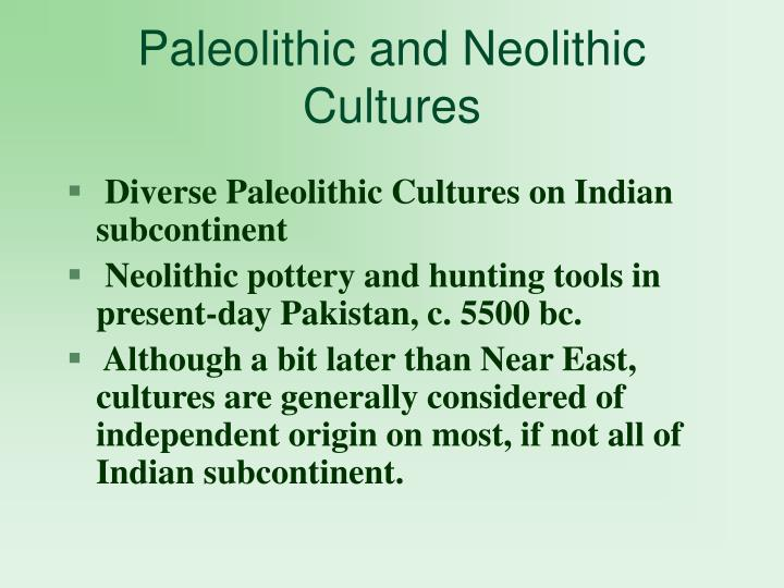 Paleolithic and neolithic cultures