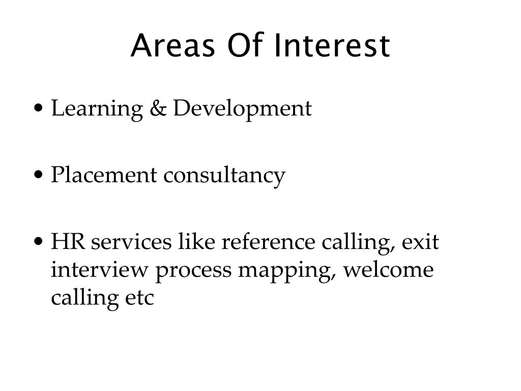 Areas Of Interest
