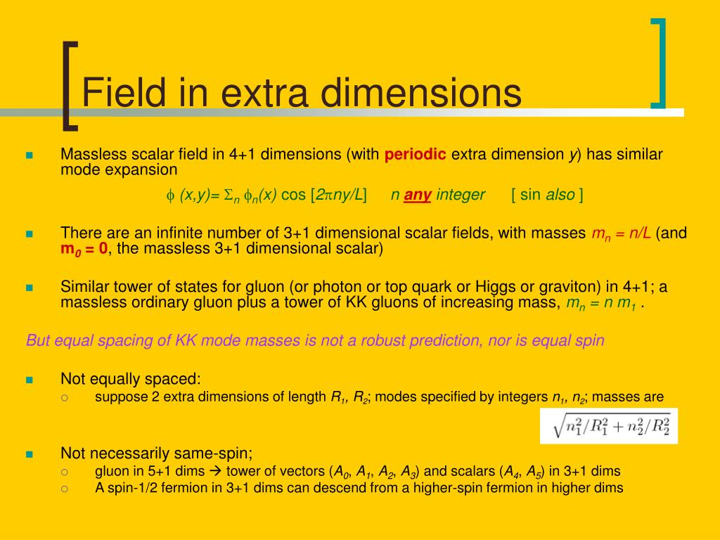 Field in extra dimensions