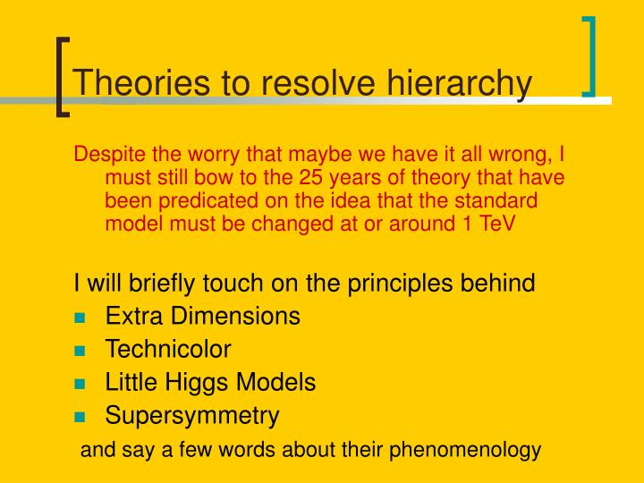 Theories to resolve hierarchy l.jpg