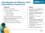 introduction of medium term expenditure framework
