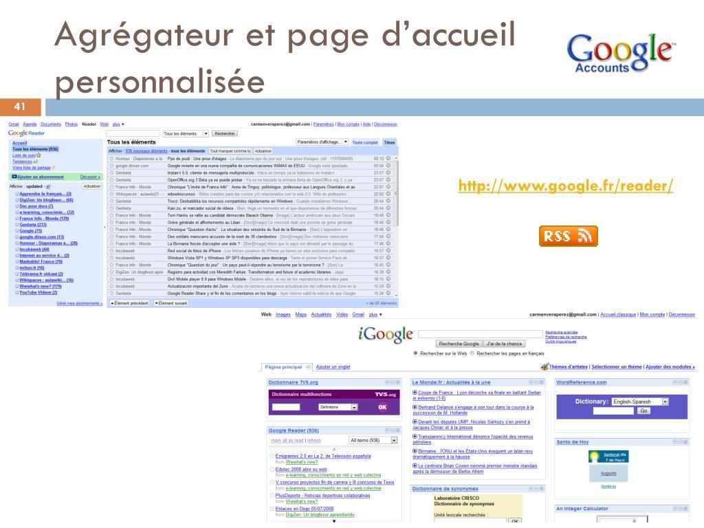 Agrégateur et page d'accueil personnalisée