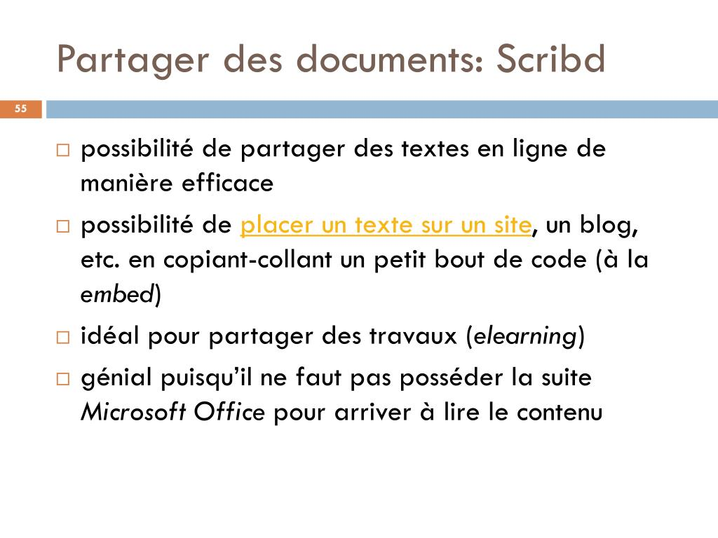 Partager des documents: Scribd