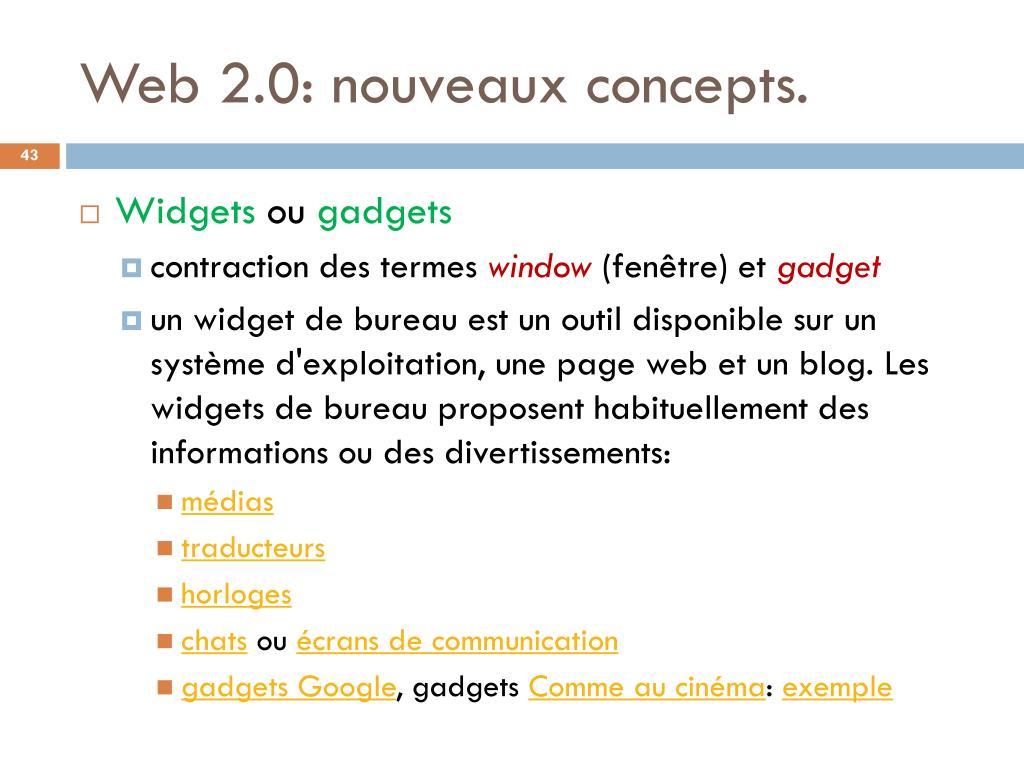 Web 2.0: nouveaux concepts.