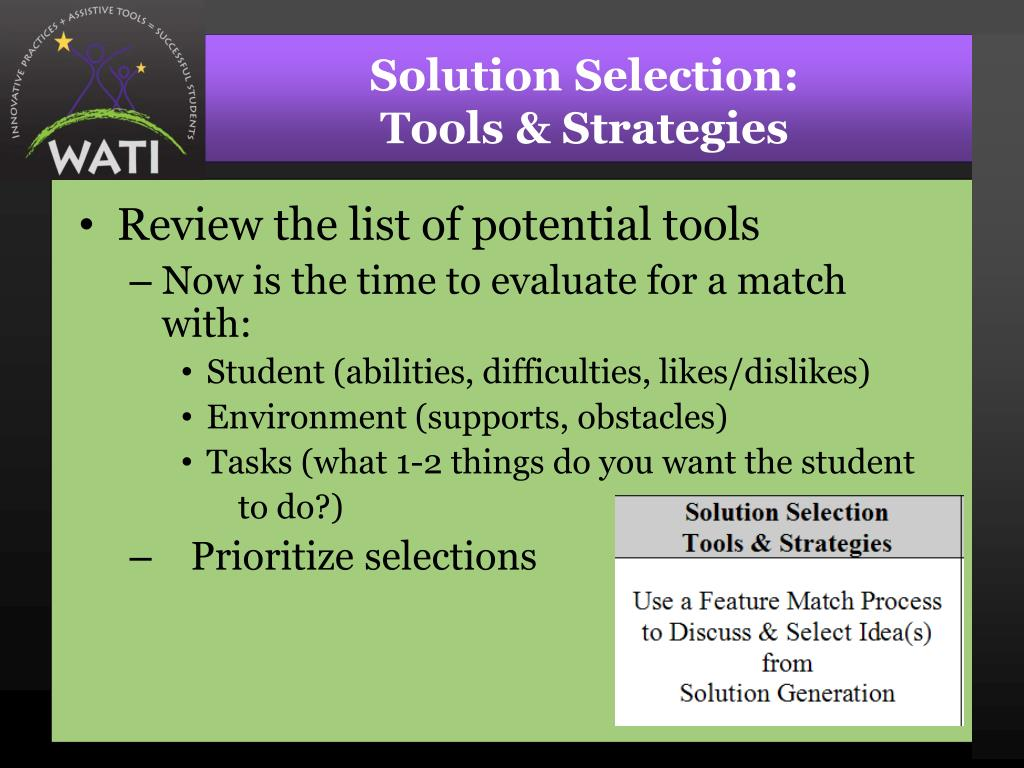 Solution Selection: