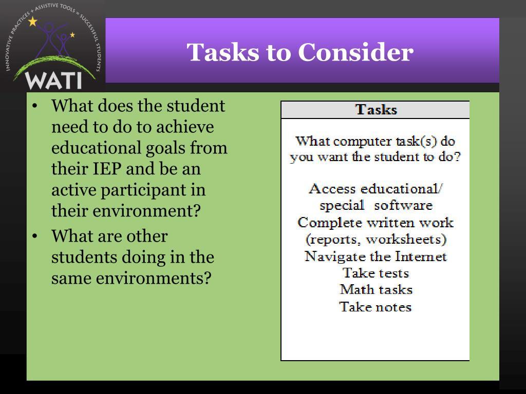 Tasks to Consider