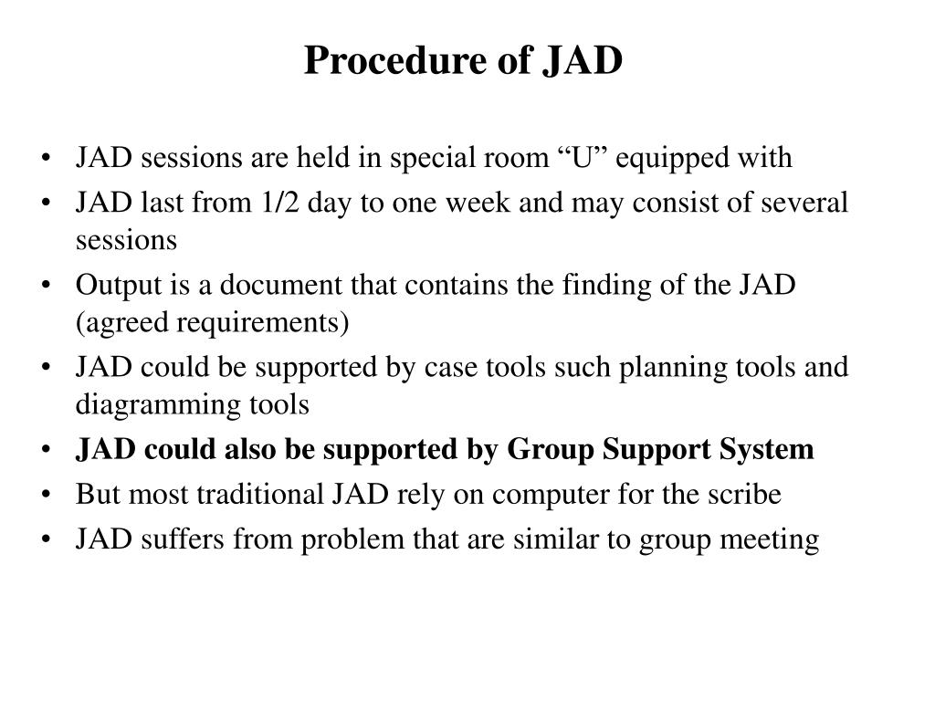 Procedure of JAD