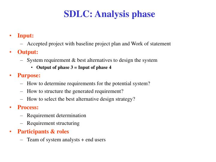 Sdlc a nalysis phase