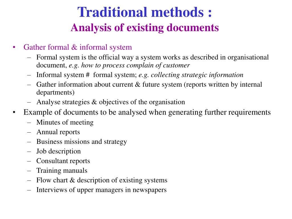 Traditional methods :