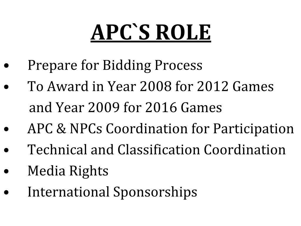 APC`S ROLE