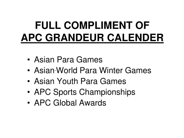 Full compliment of apc grandeur calender