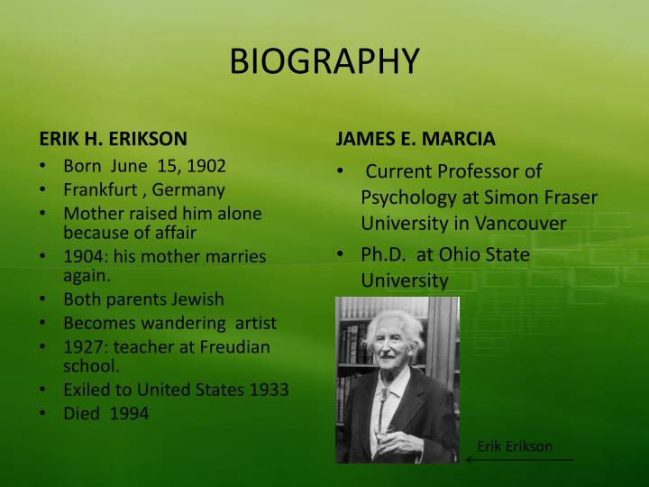 erik erikson from 1902 1904 essay Erik homburger erikson (1902-1994) was a german-born american psychoanalyst and educator whose studies have perhaps contributed most to the understanding of the youngon june 15, 1902, erik erikson wa.