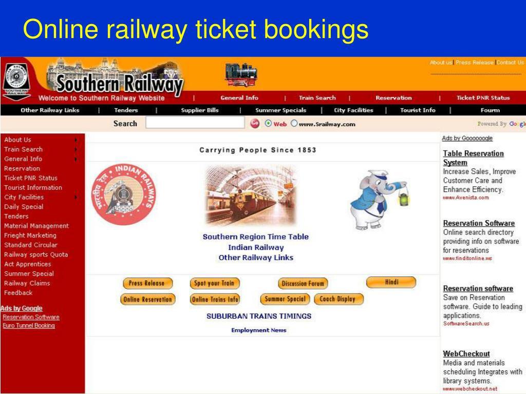 Online railway ticket bookings