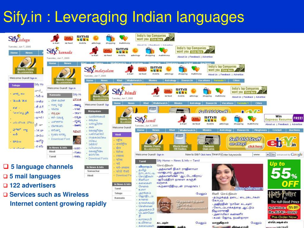 Sify.in : Leveraging Indian languages