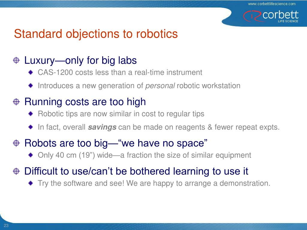Standard objections to robotics