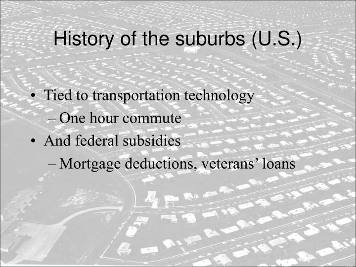 History of the suburbs u s