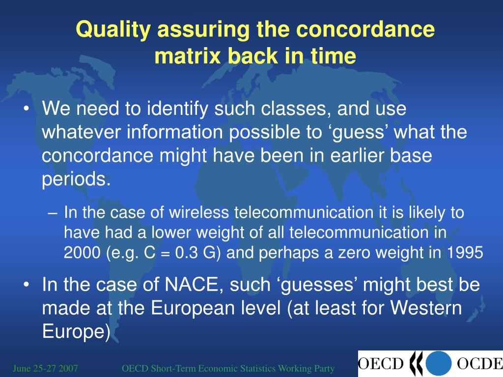 Quality assuring the concordance matrix back in time