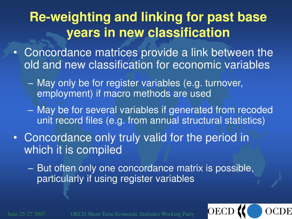 Re-weighting and linking for past base years in new classification