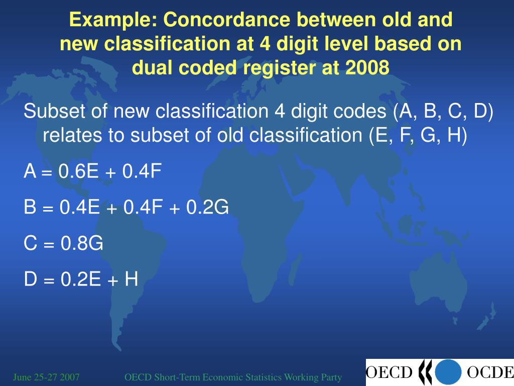 Example: Concordance between old and new classification at 4 digit level based on dual coded register at 2008