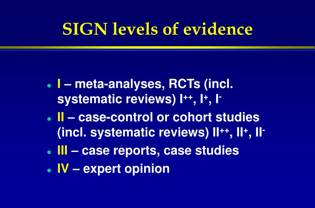 SIGN levels of evidence