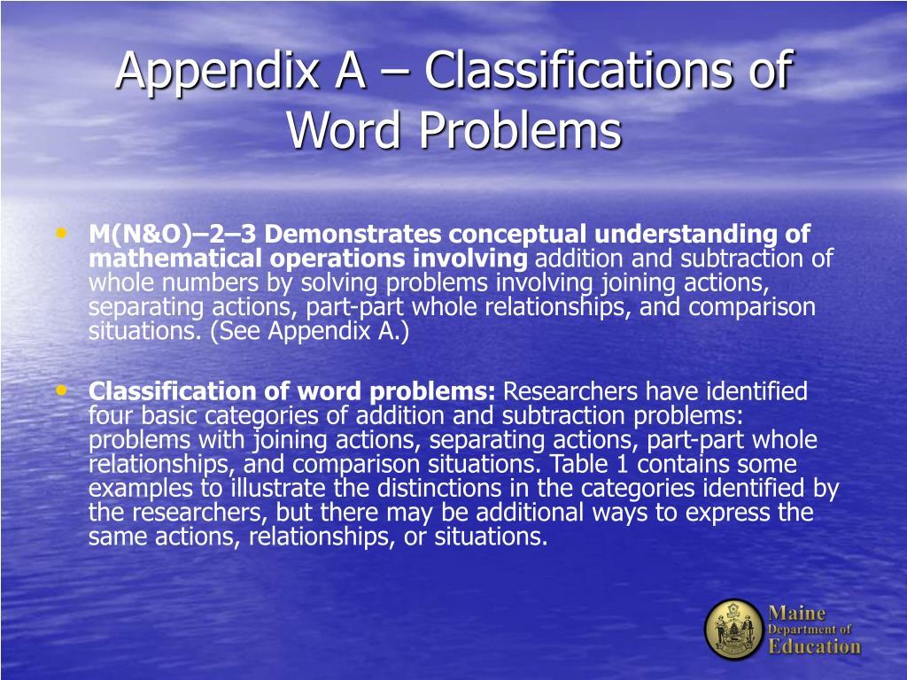 Appendix A – Classifications of Word Problems