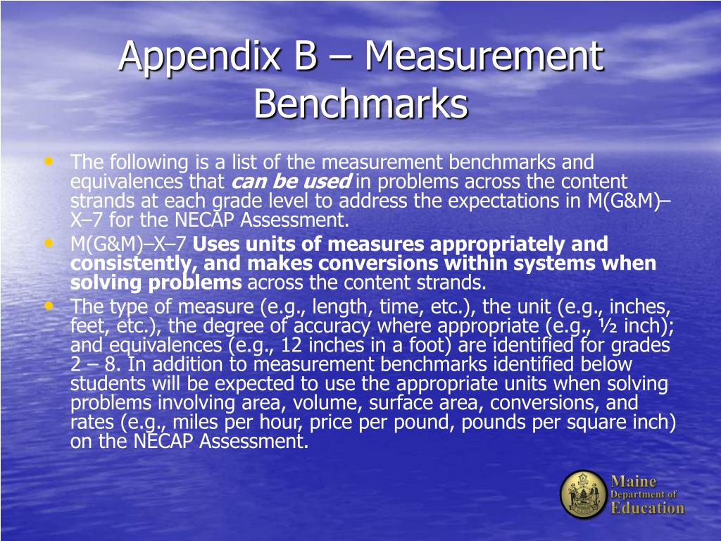 Appendix B – Measurement Benchmarks