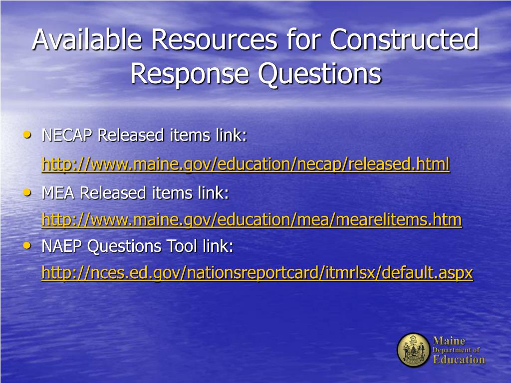 Available Resources for Constructed Response Questions