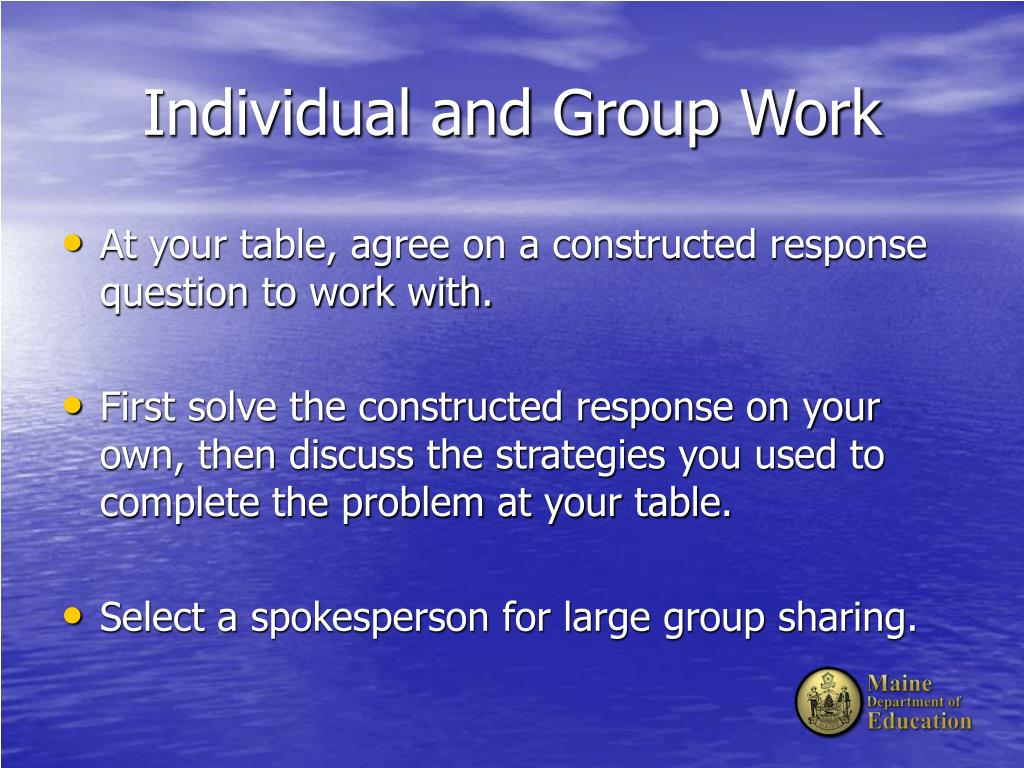 Individual and Group Work