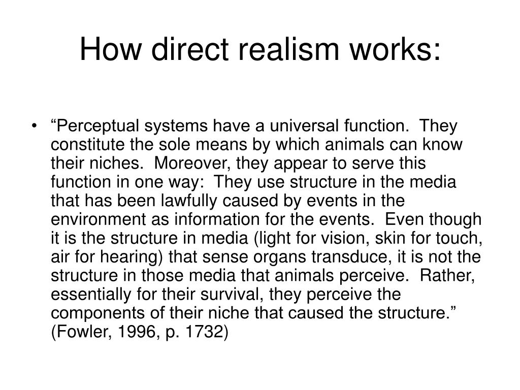 How direct realism works:
